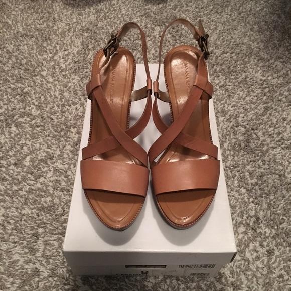 8ce8fe9bbe Banana Republic Shoes   Saila Tan Wedge Sandal   Poshmark